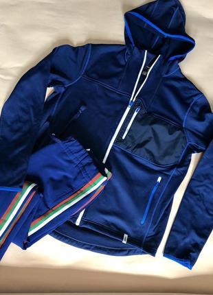 Спортивная синяя куртка на флисе polartec