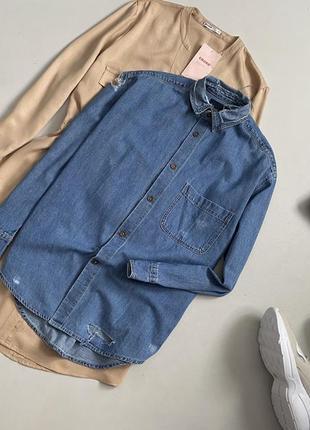 Крутая джинсовая рубашка с рваностями оверсайз zara