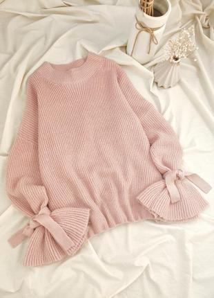 Свитер розовый кофта с воланами и завязками на рукавах свитшот