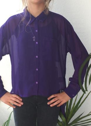 Стильная асимметричная шифоновая рубашка блуза