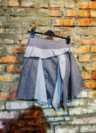 Юбка с рюшами мини короткая расклешенная пышная коттон хлопок в бохо стиле