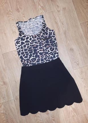 Майка леопардовая + юбка черная