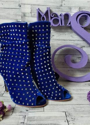 Ботильоны sexy fairy женские с открытым носком синие с шипами