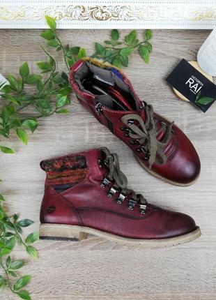 🌿37🌿европа🇪🇺 tamaris. кожа. классные ботинки на шнуровке