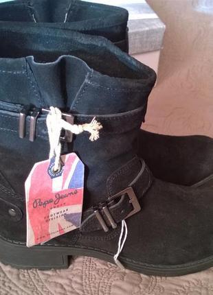 Супер модные ботинки, полусапожки, ботильоны pepe jeans. оригинал. замша