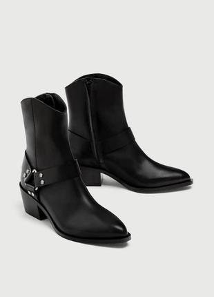 Ботинки -казаки из натуральной кожи pull&bear