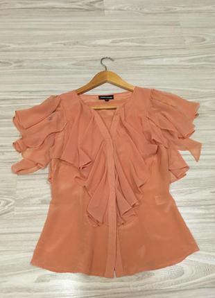 Оригинальная блузка с шифоновыми рукавами