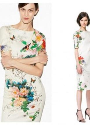 Отличное приталенное платье, стрейч коттон, принт цветы , zara