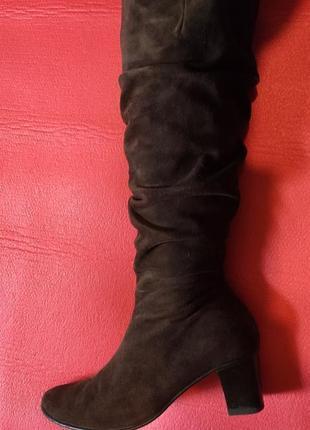 Демисезонное замшевые сапоги, сапоги на низком каблуке, ботфорты4 фото