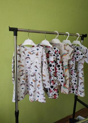Платье для девочки с принтом единороги, микки /  дитяча сукня для дівчинки