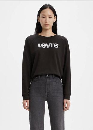 Женский брендовый свитшот кофта пуловер реглан от levis ливайс; оригинал; xs/s черный