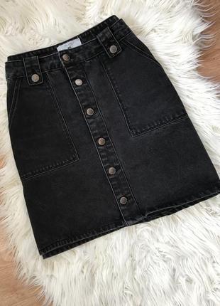 Джинсовая юбка с накладными карманами от new look