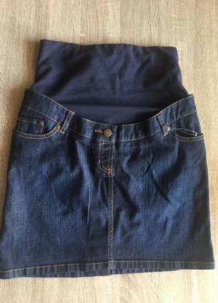 Юбка джинсовая для беременных опзмер 36 s с трикотажным поясом одежда для беременной