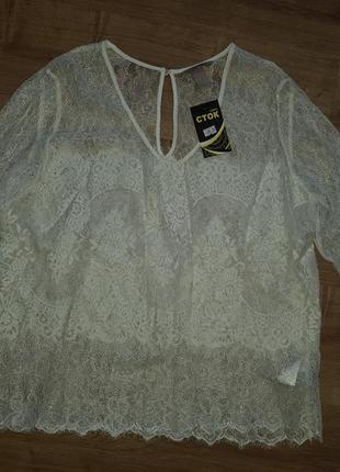 Шикарная молочная кружевная блуза h&m - 16 р-р - на 14,16