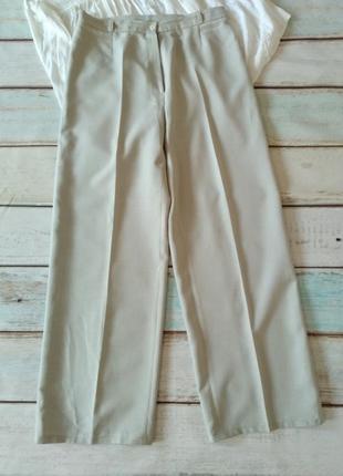 Летние бежевые брюки высокая посадка