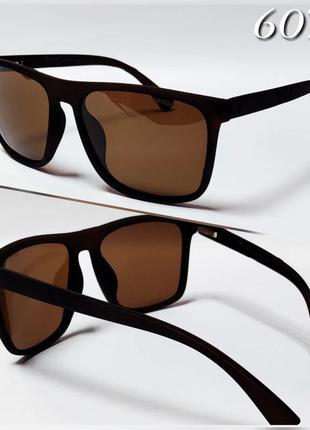 Мужские очки в матовой оправе armani коричневые с поляризацией та флекс дужками