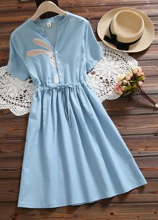 Невероятное свободное  миди платье голубое с вышивкой ручной работы