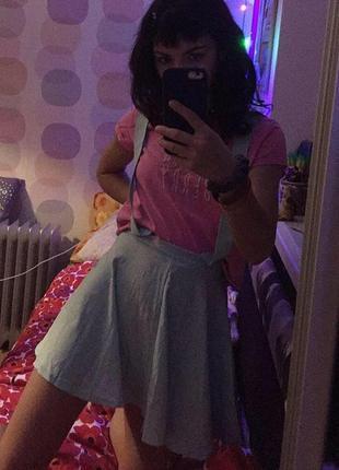 Мятная (бирюзовая) юбка с подтяжками3 фото