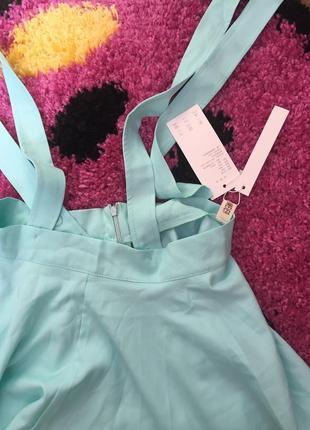 Мятная (бирюзовая) юбка с подтяжками4 фото