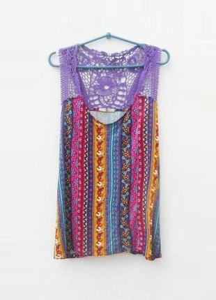 Летняя трикотажная блузка  из вискозы с кружевом