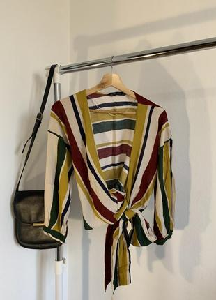 Укорочённая полосатая рубашка zara на запах