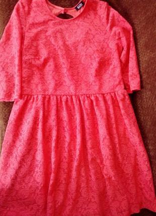 Кружевное розовое платье 48,50