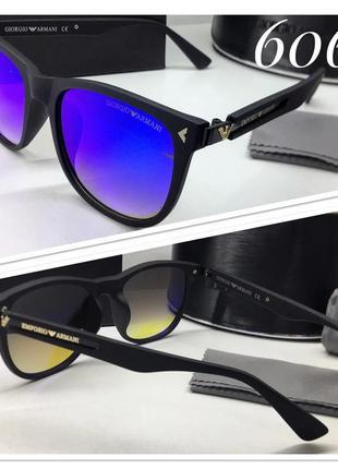 Мужские очки в матовой оправе armani черные с синими зеркальными линзами