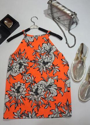 Изумительная фирменная блуза на бретелях  в яркие цветы •англия•