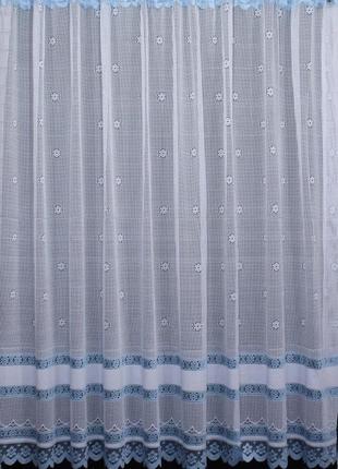 Тюль сетка высотой 2м, цвет белый с голубым