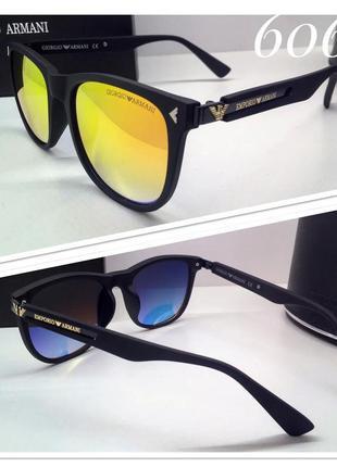 Мужские очки в матовой оправе armani черные с оранжевыми зеркальными линзами