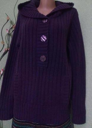 Вязанный джемпер свитер кофта с капюшоном большого размера 52-54