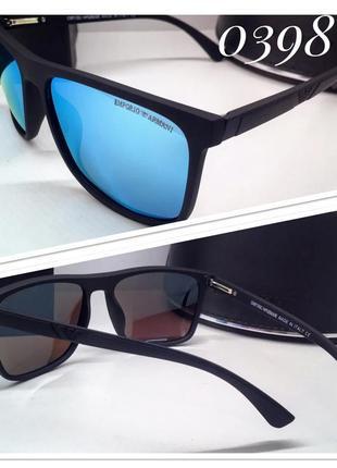 Мужские очки в матовой оправе armani черные с голубыми зеркальными линзами