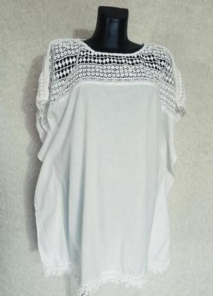 Хлопковпя белоснежная блуза