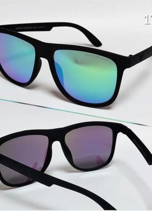 Мужские очки в матовой оправе armani черные с зелеными зеркальными линзами