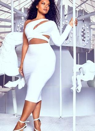 Вечернее белое платье большого размера коктейльное клубное от asos prettylittlething