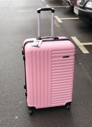 Акция! средний пластиковый чемодан  розовый   / середня пластикова валіза