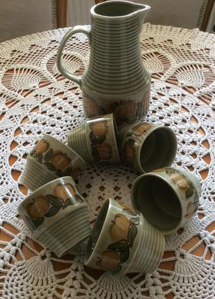 Керамика кувшин и 6 кружек