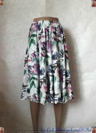 Новая просторная красочная юбка миди в яркий принт крупных листьев, размер 3хл-4хл