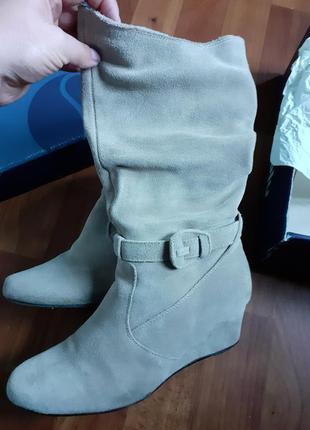 Красивые удобные фирменные ботинки сапоги замша р. 38