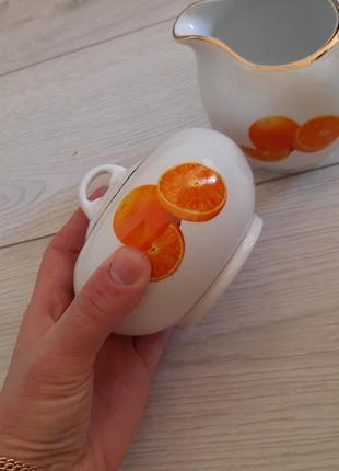 """Продам сахарницу и для сливок посуду""""апельсин""""!недорого!"""