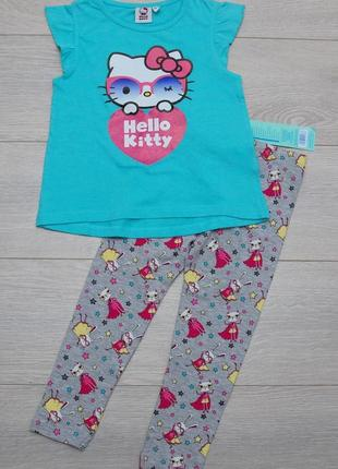 Костюм, комплект футболка -туника hello kitty  kiki&koko и лосины pepco. 98-104