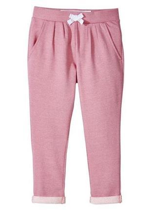 Розовые трикотажные штаны - джоггеры двунитка на девочек 2 - 4 года, р. 98 - 104, lupilu