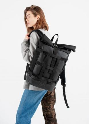 Черный городской рюкзак со съемной сеткой, из оксфорда и экокожи