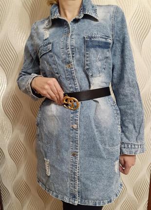 Якісна стильна джинсова куртка-плаття l-xl