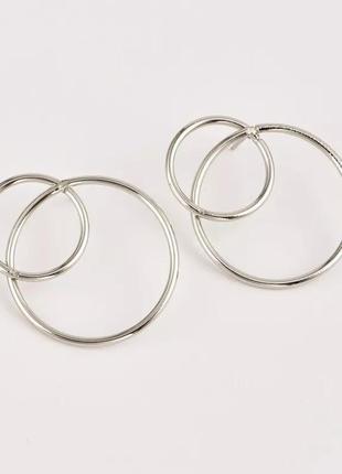 🔗базовые серьги-гвоздики с кольцами минимализм