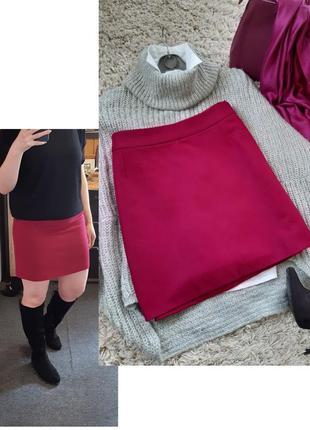 Шикарная яркая шерстяная юбка мини,esprit, р. 10-12