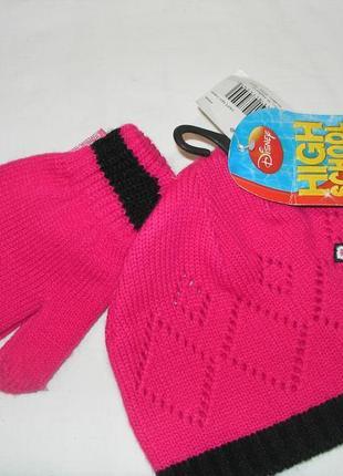 Новый красивый набор шапка + перчатки на девочку (4-8лет) весна - осень.