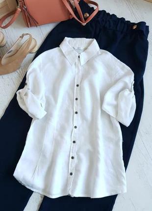 Белая блуза ,ткань лён