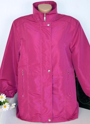 Брендовая демисезонная куртка на молнии с карманами betty kay london большой размер
