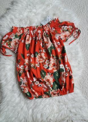 Блуза с завязками на рукавах в цветочный принт